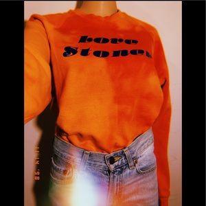Orange Tie Dye Love Stoner Crewneck Sweater